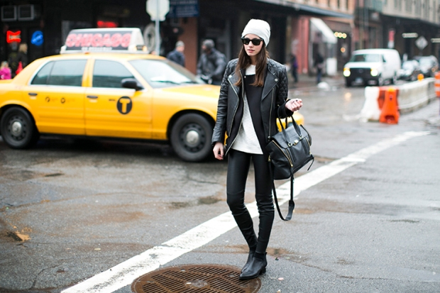 new york, zina, street style, meatpacking district, leather pants, alexander wang boots