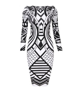 Women-black-white-open-back-bandage-dress-scoop-neck-geometric-print-long-sleeve-knee-length-celebrity